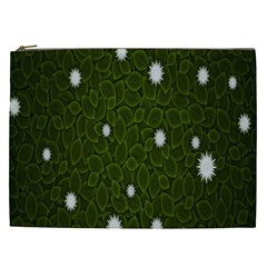 Graphics Green Leaves Star White Floral Sunflower Cosmetic Bag (xxl)