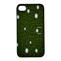 Graphics Green Leaves Star White Floral Sunflower Apple Iphone 4/4s Hardshell Case With Stand by Alisyart