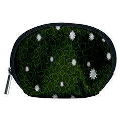 Graphics Green Leaves Star White Floral Sunflower Accessory Pouches (medium)  by Alisyart