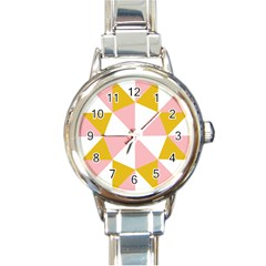 Learning Connection Circle Triangle Pink White Orange Round Italian Charm Watch by Alisyart