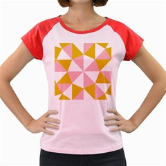 Learning Connection Circle Triangle Pink White Orange Women s Cap Sleeve T-shirt by Alisyart