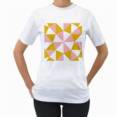 Learning Connection Circle Triangle Pink White Orange Women s T Shirt (white) (two Sided) by Alisyart
