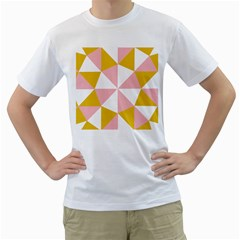 Learning Connection Circle Triangle Pink White Orange Men s T Shirt (white) (two Sided)