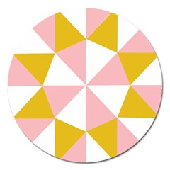 Learning Connection Circle Triangle Pink White Orange Magnet 5  (round) by Alisyart