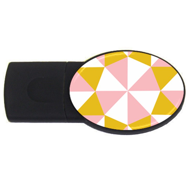 Learning Connection Circle Triangle Pink White Orange USB Flash Drive Oval (2 GB)