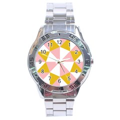 Learning Connection Circle Triangle Pink White Orange Stainless Steel Analogue Watch