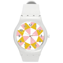 Learning Connection Circle Triangle Pink White Orange Round Plastic Sport Watch (m) by Alisyart