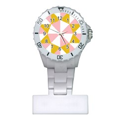 Learning Connection Circle Triangle Pink White Orange Plastic Nurses Watch