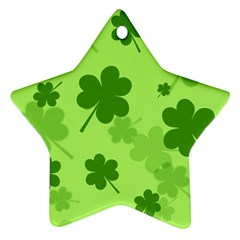 Leaf Clover Green Line Ornament (star) by Alisyart