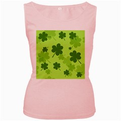 Leaf Clover Green Line Women s Pink Tank Top