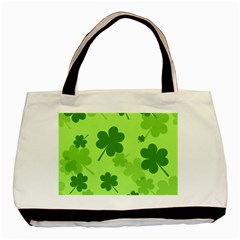 Leaf Clover Green Line Basic Tote Bag by Alisyart