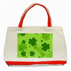 Leaf Clover Green Line Classic Tote Bag (red) by Alisyart