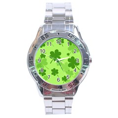 Leaf Clover Green Line Stainless Steel Analogue Watch by Alisyart