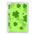 Leaf Clover Green Line Apple iPad Mini Case (White) Front