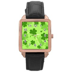Leaf Clover Green Line Rose Gold Leather Watch