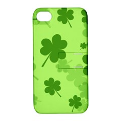 Leaf Clover Green Line Apple Iphone 4/4s Hardshell Case With Stand by Alisyart