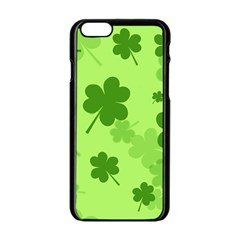 Leaf Clover Green Line Apple Iphone 6/6s Black Enamel Case