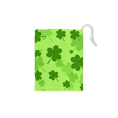 Leaf Clover Green Line Drawstring Pouches (xs)  by Alisyart