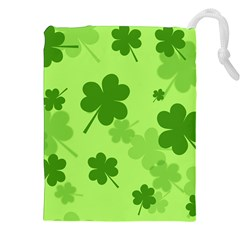 Leaf Clover Green Line Drawstring Pouches (xxl) by Alisyart