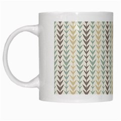 Leaf Triangle Grey Blue Gold Line Frame White Mugs by Alisyart