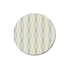 Leaf Triangle Grey Blue Gold Line Frame Magnet 3  (round) by Alisyart