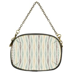 Leaf Triangle Grey Blue Gold Line Frame Chain Purses (two Sides)  by Alisyart