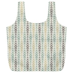 Leaf Triangle Grey Blue Gold Line Frame Full Print Recycle Bags (l)  by Alisyart