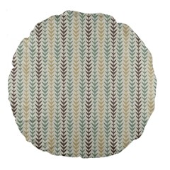 Leaf Triangle Grey Blue Gold Line Frame Large 18  Premium Flano Round Cushions