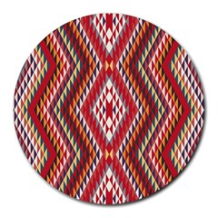 Indian Pattern Sweet Triangle Red Orange Purple Rainbow Round Mousepads
