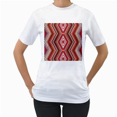 Indian Pattern Sweet Triangle Red Orange Purple Rainbow Women s T Shirt (white) (two Sided) by Alisyart