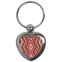 Indian Pattern Sweet Triangle Red Orange Purple Rainbow Key Chains (heart)
