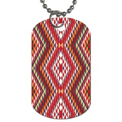 Indian Pattern Sweet Triangle Red Orange Purple Rainbow Dog Tag (one Side)