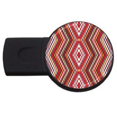 Indian Pattern Sweet Triangle Red Orange Purple Rainbow Usb Flash Drive Round (2 Gb) by Alisyart