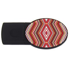 Indian Pattern Sweet Triangle Red Orange Purple Rainbow Usb Flash Drive Oval (4 Gb) by Alisyart