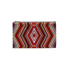 Indian Pattern Sweet Triangle Red Orange Purple Rainbow Cosmetic Bag (small)  by Alisyart