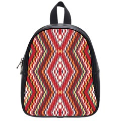 Indian Pattern Sweet Triangle Red Orange Purple Rainbow School Bags (small)  by Alisyart