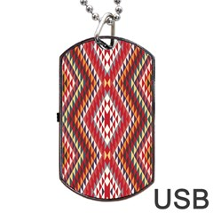 Indian Pattern Sweet Triangle Red Orange Purple Rainbow Dog Tag Usb Flash (one Side) by Alisyart