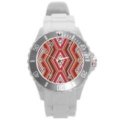 Indian Pattern Sweet Triangle Red Orange Purple Rainbow Round Plastic Sport Watch (l) by Alisyart