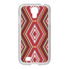 Indian Pattern Sweet Triangle Red Orange Purple Rainbow Samsung Galaxy S4 I9500/ I9505 Case (white)