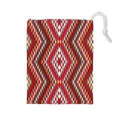 Indian Pattern Sweet Triangle Red Orange Purple Rainbow Drawstring Pouches (large)  by Alisyart