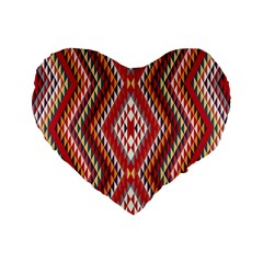 Indian Pattern Sweet Triangle Red Orange Purple Rainbow Standard 16  Premium Flano Heart Shape Cushions