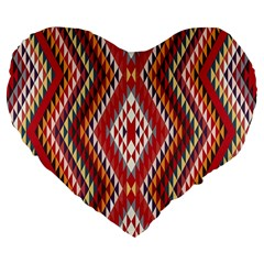 Indian Pattern Sweet Triangle Red Orange Purple Rainbow Large 19  Premium Flano Heart Shape Cushions