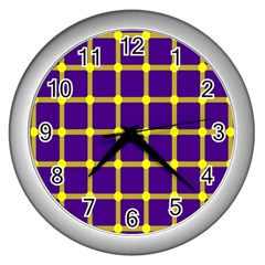 Optical Illusions Circle Line Yellow Blue Wall Clocks (silver)