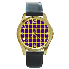 Optical Illusions Circle Line Yellow Blue Round Gold Metal Watch by Alisyart