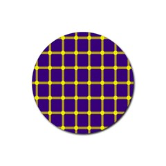 Optical Illusions Circle Line Yellow Blue Rubber Coaster (round)