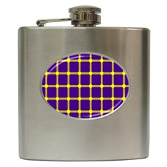 Optical Illusions Circle Line Yellow Blue Hip Flask (6 Oz)