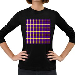Optical Illusions Circle Line Yellow Blue Women s Long Sleeve Dark T Shirts