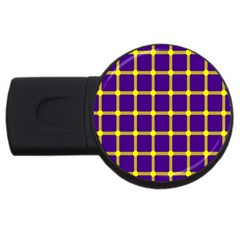 Optical Illusions Circle Line Yellow Blue Usb Flash Drive Round (4 Gb) by Alisyart