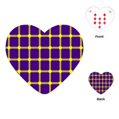 Optical Illusions Circle Line Yellow Blue Playing Cards (heart)  by Alisyart