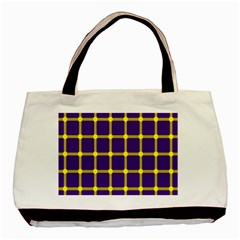 Optical Illusions Circle Line Yellow Blue Basic Tote Bag